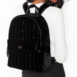 Victoria's Secret Black Velvet Stud City Backpack
